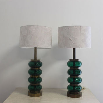 Vintage Paul Hanson Pair Of Glass/Brass Mid Century Modern Green Table Lamps