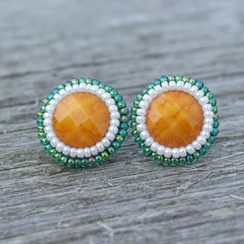 Stud Earrings Irish Ireland St. Patrick's Day Shamrock Flag Green White Orange National Clover Stud Earrings