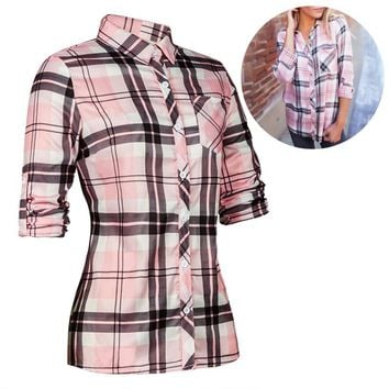 Womens Casual Long Sleeve Blouse for Women Button Down Fashion Plaid Shirts Tunic for Women