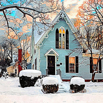 VICTORIAN House Blue Gingerbread Pink Sunrise Snow Charming French Country Shabby Chic Decor Watercolorish Signed Fine Art Photograph