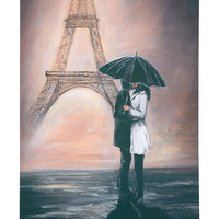 'Couple Kissing' Paris Picture On Canvas