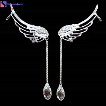 Angel Wing Crystal Earrings Dangle Cuff Clip