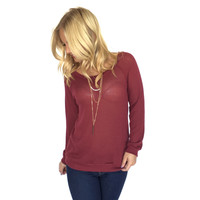 High Standards Waffle Knit Top In Burgundy