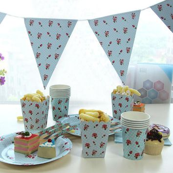 Best Birthday Party Supplies Paper Dinnerware Set Disposable Plates and Cups Popcorn Boxes Decorative Triangular Banner Flags