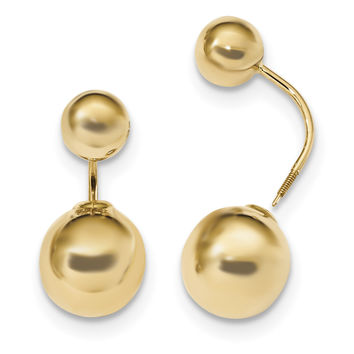 14k Gold Polished 7mm/11mm Ball Front & Back Dangle Earrings TL1032