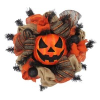 Halloween Large Pumpkin Mesh Wreath Halloween Decoration - Walmart.com