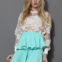 Flower Embroidered Sheer Sweat Top in White