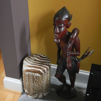 African Hunter Floor Wood Carving