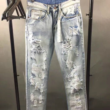 High Quality Designer Jeans Off White Winter New Mens Wear Mill Wear Striped Rose Embroidery Denim Pants Men Jeans Jogger Pants