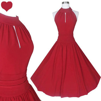 New 50s Style Retro Red Full Skirt Party Dress S M L Valentine's Day Valentine Sleeveless Keyhole Rockabilly Swing Cocktail Prom Dance