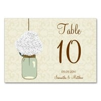 Country Rustic Mason Jar Hydrangea Table Numbers