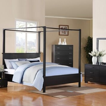 5 pc London Canopy Collection black finish wood queen canopy 4 poster bed set with squared post ends and feet and paneled ends