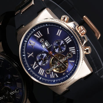 Forsining Men Retro Auto-Movement Mechanical Roman Numbers Round Dial Wrist Watch = 1841381188