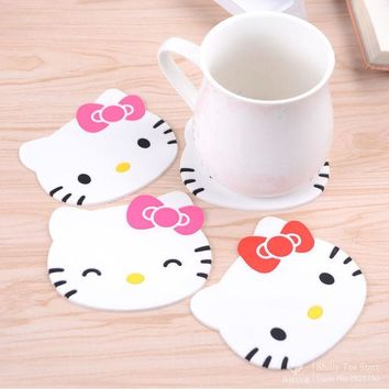 VONC1Y Hello kitty silicone Anti Slip Kawaii Cup Mat Dish Bowl Placemat Coaster Base Kitchen Accessories Cozinha Home Decoration Zakka