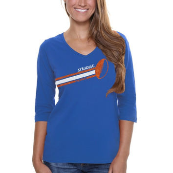 Syracuse Orange Ladies Football Glitter Half Sleeve V-Neck T-Shirt - Royal Blue