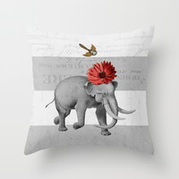 elephant and bird Throw Pillow by Her Art