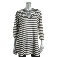 J Valdi Womens Knit Striped Tunic Top