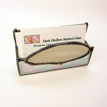 Agate Angel Handmade Stained Glass Business Card Holder Iridescent Glass and White Agate