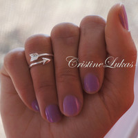 Celebrity Style Midi Arrow Ring - Knuckle Ring - By Pass Arrow - Adjustable -Sterling silver
