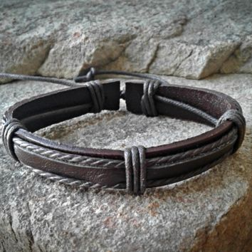 Dark Brown  Leather  Adjustable Unisex Leather Weave Wrap Bracelets