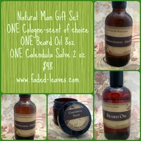 Natural Man Gift Set with cologne, beard oil, and Salve