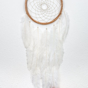 Hand Made Bohemian Dream Catcher - Large White Feathers Boho Dream Catcher Nursery Dream Catcher Bohemian Home Decor Feather Dream Catcher