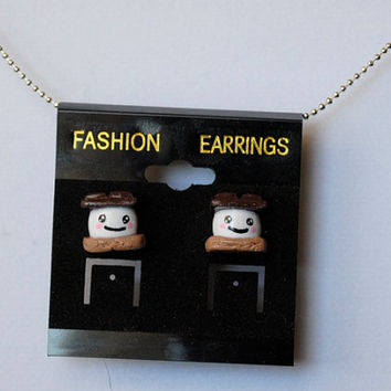 Happy S'more Polymer Clay Earrings by ImprssvlyPredictable on Etsy