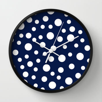 Crazy Dots: Navy Wall Clock by Eileen Paulino