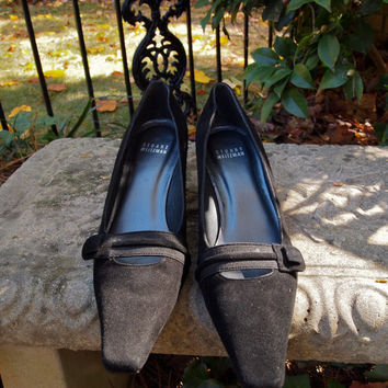 Stuart Weitzman Black Suede Low Pumps