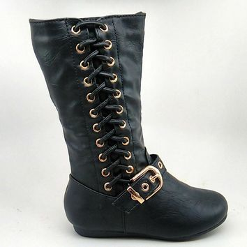 Girl's Black Boots with Braid Detail