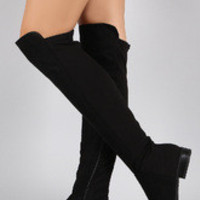 Women's Suede Round Toe Riding Thigh High Boot
