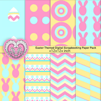 Easter Scrapbook Paper Pack, Digital Patterns, Paper Goods - Pastel Blue, Pink, Yellow