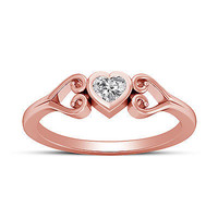 Valentines Special Heart Shape White Diamond Solitaire Ring Rose Gold Over