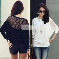 Fashion Women's Batwing Top Dolman Lace Loose T-Shirt  Blouse Top  Long Sleeve