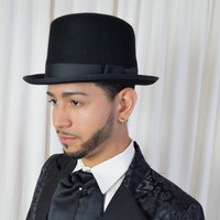 Men's Top Hat, Black Top Hat, Unisex Hat, Steam Punk Hat, Felt Hat, New Dead Stock, One Size,