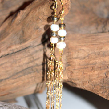 Boho Wedding Inspired Upcycled Re-Purposed Vintage Chain Pearl and Brass Dangles