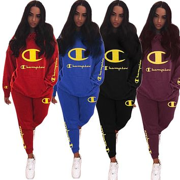 Champion fashion casual lady embroidered logo hoodie two piece suit