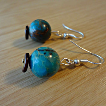 Blue Earth Astronomer Earrings by EudaimoniaJewelry on Etsy