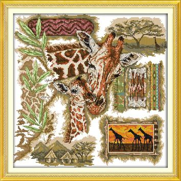 The African giraffes Animal Cotton cross stitch kits 14ct white 11ct printed embroidery DIY handmade needle work wall home decor