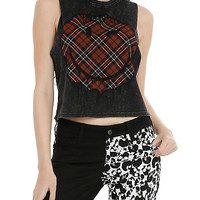 Smiley Plaid Acid Wash Girls Muscle Top