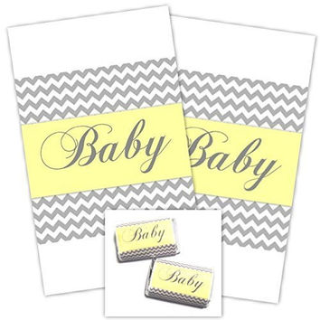 Gray Chevron and Yellow Baby Shower Miniature Candy Wrappers, Peel and Stick Mini Wrappers (54 count)