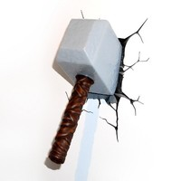 3D Wall Art Nightlight - Thor Hammer