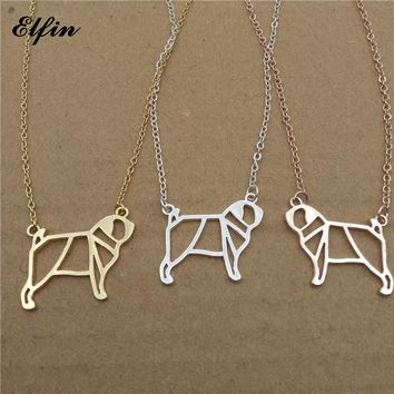 Elfin 2018 Trendy Origami Pug Necklace Gold Color Silver Color Dog Jewellery Pug Pendant Necklace Women Steampunk