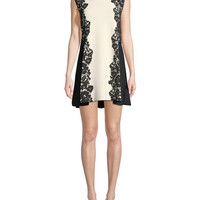 Valentino Sleeveless Crewneck A-Line 2-Tone Knit Dress with Lace-Inset