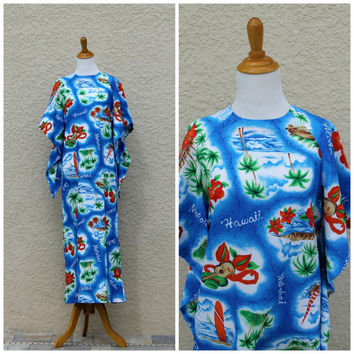 Vintage 70s Hawaiian Maxi Mumu Dress// Novelty Print Maxi Dress// Kimono Sleeve Dress// Resort Vacation Holiday// Floral Dress