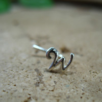 Nose & Tragus Stud Initial Silver