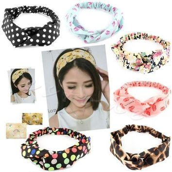 LMF78W 1Pc Women Cotton Turban Twist Knot Head Wrap Headband Twisted Knotted Hair Band