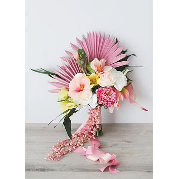 Afloral Exclusive Tropical Hibiscus and Palm Bouquet - Ships Alone