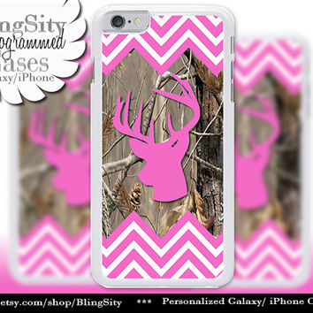 Hot Pink Chevrons Camo Iphone 6 Case Buck Head Antlers iPhone 5C 6 Plus Case iPhone 5s Ipod 4 5 Touch case Deer Real Tree Zig Zag