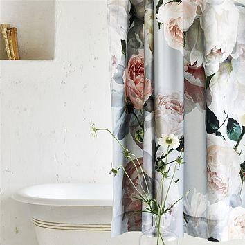 Peonia Grande Zinc Shower Curtain by Designers Guild